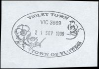 Lot 15823:Violet Town (2): - WWW #130 60½x38mm pictorial oval 'VIOLET TOWN/VIC 3669/[flowers]/21SEP1999/TOWN OF FLOWERS' (9DL - LRD).  PO 1/2/1859; LPO 3/5/1993.