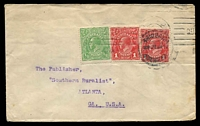 Lot 5006:1917 use of ½d green and 1d red KGV x2, cancelled by Brisbane 24JA1917 machine, addressed to USA, flap unsealed, light toning.