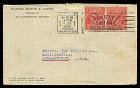 Lot 845:1933 use of 2d red KGV x2, cancelled with Sydney 'Posted Oversea Box' 19JLY1933 slogan on Waring, Martin & Harris Merchants, Sydney cover addressed to USA, light toning.