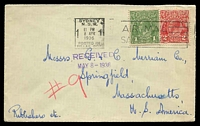 Lot 5263:1936 use of 1d green & 2d red KGV, cancelled with Sydney 'Posted in Pillar Box' 8APR1936 machine, on cover to USA.