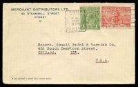 Lot 799:1936 use of 1d green KGV & 2d Cable, cancelled with Sydney 'Posted in Pillar Box' 12JNE1936 slogan on Merchant Distributors cover, addressed to USA.