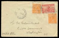 Lot 800:1936 use of ½d orange KGV x2 & 2d Cable, cancelled with 3 poor strikes of 'MIDLAND JUNCTION/5P1JL36/W.A.' on cover addressed to USA.