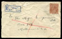 Lot 2186 [1 of 2]:5d Orange-Brown Die II [3R50] White dot beside 1st A of AUSTRALIA, etc on registered cover (worn, opened-out) cancelled with 'WARBURTON EAST/2DE37/VIC' (B2, A2 backstamp) and blue label.