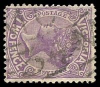 Lot 12707:1134: 'MC/34' on 1d violet. [Rated R]  Allocated to Caralulup-PO 21/7/1879; TO 1/7/1941; closed 13/12/1954.