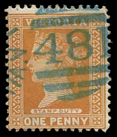 Lot 10692:481: '481' right half of 1st duplex in blue on 1d brown.  Allocated to Stringer's Creek-PO 22/8/1864; renamed Walhalla PO 23/3/1868; LPO 1/7/1993.