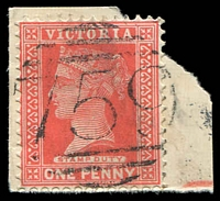 Lot 2127:759: on 1d pink. [Rated S]  Allocated to Ballanee-PO 13/11/1871; renamed Blakeville PO 12/3/1872; closed 31/3/1964.