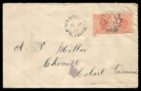 Lot 17517:Wandong: - WWW #10, unframed 'WANDONG/SE27/04/VICTORIA' tied by BN '958' on 1d pink pair (faults) on Tattts cover (pin hole).  PO 9/10/1876; LPO 18/8/1993.