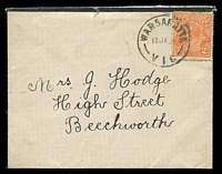 Lot 15135 [1 of 2]:Wangaratta: WWW #150A 'WANGARATTA/15JA21/VIC' (arcs 7,7½) on 2d orange KGV on mourning cover (roughly opened) with printed sympathy note included.  Renamed from Ovens PO 1/1/1854.