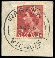 Lot 3066:Wareek (3): - WWW #10A 'WAREEK/6MR56/VIC-AUST' on 3½d red QEII (fault). [A copy in auction 27 sold for $72]  Renamed from Wareek State School PO c.1954; closed 31/5/1977.