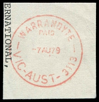 Lot 3068:Warrandyte: - WWW #210 red 'WARRANDYTE/PAID/7AU79/VIC-AUST-3113' on piece.  PO 1/8/1857; LPO 16/9/1993.