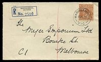 Lot 3070 [1 of 2]:Warrnambool: - WWW #120A 'WARRNAMBOOL/13JL35/VIC' (arcs 4,4) on 5d brown KGV on cover with black & blue registration label (type C5A) addressed to Myer.  PO 1/1/1849.