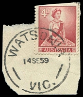 Lot 3073:Watsonia: - WWW #10B 'WATSONIA/14SE59/VIC.' on 4d red QEII.  PO c.1934; LPO 22/9/1993.
