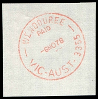 Lot 3077:Wendouree: - WWW #210A red 'WENDOUREE/PAID/6NO78/VIC-AUST-3355' on piece.  PO 17/2/1871.