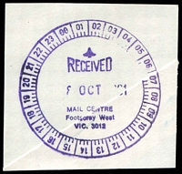 Lot 3080:Western Mail Centre: - WWW #360 24-hr violet 'RECEIVED/8OCT1991/MAIL CENTRE/Footscray West/VIC. 3012' (9DL).  Renamed from Footscray West Mail Centre MC 1/10/1991; closed 19/5/1996.
