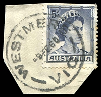 Lot 3081:Westmere: - WWW #10B 'WESTMERE/9FE60/VIC' on 5d blue QEII.  RO 8/9/1913; PO 11/3/1914; closed 28/5/1993.