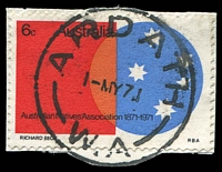Lot 3521:Ardath: - 'ARDATH/1-MY71/W.A' (C29) on 6c ANA (cut-to-shape).  RO 16/8/1916; PO 1/11/1917; closed 31/12/1984.