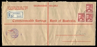Lot 3360 [1 of 2]:Bassendean: - poor 'BASSENDEAN/26OC48/WESTERN AUSTRALIA' (A26 - LRD by more than 6½ years) on 2½d Von Mueller x3 on opened-out CSBA cover with blue registration label.  Renamed from West Guildford PO 23/9/1923.