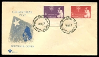 Lot 734:Royal 1957 Christmas pair tied to illustrated FDC by 'WINDSOR S.1./6NO57/VIC-AUST' (arcs 1½,2½mm), unaddressed.