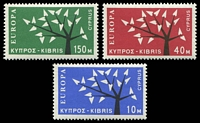 Lot 3489:1963 Europa Tree SG #224-6 set of 3, Cat £25.