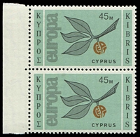 Lot 3491:1965 Europa Sprig SG #268 45M left margin pair.