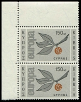 Lot 3655:1965 Europa Sprig SG #269 150M TLC vertical pair, Cat £18.