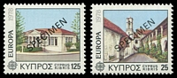 Lot 19013:1978 Europa Architecture SG #502,504 25M & 125M, overprinted 'SPECIMEN diagonally.