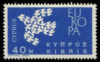 Lot 20609:1962 Europa Doves 40M with Circle left of K of Kibris.