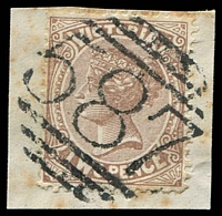 Lot 2530:587: 2nd type (numerals 11½mm high) on 2d brown. [Rated SS]  Allocated to Cobden-PO 5/1/1867; LPO 6/11/1997.