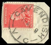 Lot 14712:Cavendish: - WWW #40, 'CAVENDISH/11AU39/VIC' on 2d red KGVI. [Rated S]  PO 1/4/1853; LPO 19/5/1994.