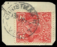 Lot 2430:Christmas Hills (1): - WWW #20 'CHRISTMAS HILL/29JE37/VIC' (error; 'HILL') on 2d red KGV. [Rated 2R]  Renamed from Christmas Hill PO c.1913; RO c.1924; PO 1/7/1927; closed 31/1/1974.