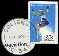 Lot 2437:Colignan: - WWW #20 'COLIGNAN/11-A2OC84/VC 3404' on 30c Skiing (cut-to-shape). [Rated 2R]  RO 22/8/1922; PO 1/7/1927; closed 29/4/1988.