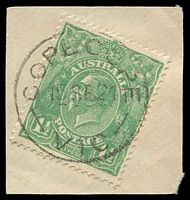 Lot 2439:Cope Cope: - WWW #20 'COPE COPE/15SE24/VIC' (arcs 5,5½) on 1½d green KGV. [Rated R]  PO 15/9/1873; closed 31/10/1975.