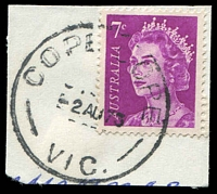 Lot 2480:Cope Cope: - WWW #30B 'COPE COPE/2AU73/VIC.' (arcs 7,6½) on 7c purple QEII. [Rated 2R]  PO 15/9/1873; closed 31/10/1975.