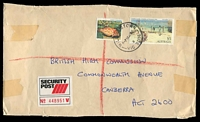 Lot 3089:Williamstown (2): - WWW #110 'WILLIAMSTOWN/5P14AP86/3/VIC 3016' on 30c Fish & $5 Painting on large cover (tape adhesions) to British High Commission with red & black 'SECURITY POST' label.  Replaced Williamstown Central PO 24/8/1979.