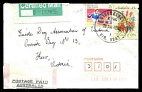 Lot 17332:Winchelsea: - WWW #130 34mm 'WINCHELSEA/5P.M./20JUL1992/VIC. 3241' (9DL) on 2c Sports & 43c Thinking of You with Postage Paid Receipt $1.40 and Certified Mail label, addressed to Guide Dogs.  Renamed from Barwon PO 1/1/1854; LPO 23/5/1994.