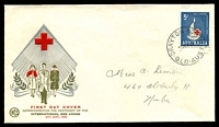 Lot 4732:WCS 1963 5d Red Cross tied to illustrated FDC by 'DRAYTON NORTH/8MY63/QLD-AUST' (A2 - large 'Q') cds, addressed in pencil.