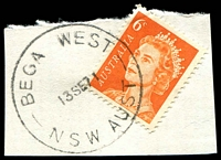 Lot 1337:Bega West: - 'BEGA WEST/13SE71/NSW AUST' on 6c orange QEII.  PO 1/3/1960; closed 30/6/1987.