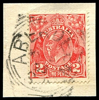 Lot 1286:Aberdeen: - 27mm squared-circle 'ABERDEEN/????/33/S_A' on 2d red KGV.  PO c.1874; renamed Burra North PO 1/12/1939.