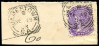 Lot 1820:Jamestown: - 2 strikes of 23mm squared-circle 'JAMESTOWN/2/SE19/03/S.A' (code right) on 2d violet DLR P13. [Rated S]  PO c.1872.