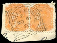 Lot 1866:Murray Bridge: - 24mm squared-circle 'MURRAY BRIDGE/2/NO6/96/S_A' on 2d orange DLR P13 pair.  Renamed from Swanport PO 1/4/1880.