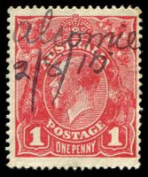 "Lot 10777:Alcomie: - mss ""Alcomie/2.8.15"" on 1d red KGV.  RO 1/1/1915; PO 1/10/1920; closed 31/12/1974."