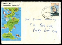 Lot 1833:Bicheno: - 'BICHENO/230P1OC84/TAS-7215' on 30c Cutty Sark on illustrated Coles Bay tourist cover.  RH 1/1/1855; PO 1/11/1870.