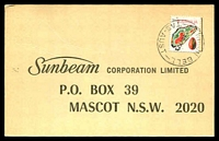 Lot 1907:Renison Bell: - 'RENISON BELL/10JY73/TAS-AUST' on 7c Agate on Sunbeam postcard.  PO 1/7/1908; TO 1/10/1968; closed 30/4/1976.