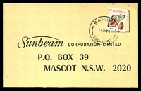 Lot 2050:Sandfly (2): - 'SANDFLY/17JY74/TAS-AUST' on 7c Agate on Sunbeam postcard.  PO 1/1/1897; closed 12/12/1981.