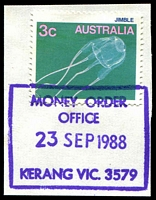 Lot 2557:Kerang (3): - WWW #450 35½x26½mm violet boxed 'MONEY ORDER/OFFICE/23SEP1988/KERANG VIC. 3579' on 3c Jimble. [The first offered by us]  PO 29/7/1858.