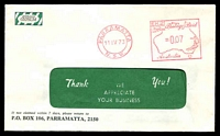 Lot 4542:Australian Gypsum window-faced cover with 11 April 1973 Parramatta, N.S.W. meter cancel.