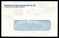 Lot 812:Paramount Paper Merchants window-faced cover with 5 Dec 1984 Prahran Paid machine cancel (inverted head).