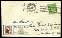 Lot 828:The Ruskin Press cover with small logo for commercial printers of Russell Street, Melbourne, franked with 1d green KGV and 11 Jun 1932 slogan cancel.