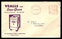 Lot 832:Vealls illustrated cover for Vealls for Snow Queen Electric Range with 21 July 1950 Melbourne meter cancel.