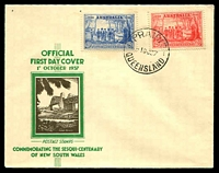 Lot 689:APO 1937 NSW Sesquicentenary 2d & 3d tied to illustrated FDC by 'PRAIRIE/1OC37/QUEENSLAND' cds (A1-), unaddressed.